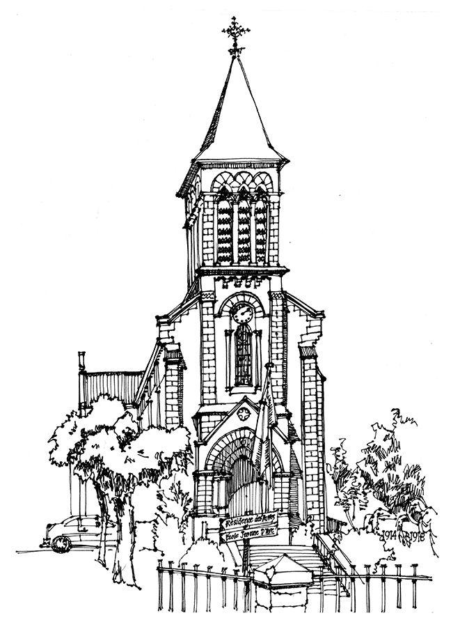 Chabanais, Rue Souchet, eglise.  Ricepaper & ink. www.anneroseoosterbaan.nl urban sketcher