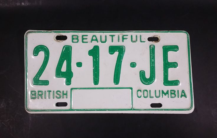 c. 1986 Beautiful British Columbia White with Green Letters Vehicle License Plate 24 17 JE https://treasurevalleyantiques.com/products/c-1986-beautiful-british-columbia-white-with-green-letters-vehicle-license-plate-24-17-je #Vintage #1980s #80s #Eighties #BeautifulBC #BritishColumbia #Vehicles #Autos #Automobiles #Cars #Trucks #LicensePlates #Canada #Canadian #Garage Collectibles