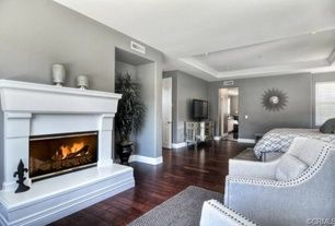 Sherwin Williams Knitting needles.  Art Deco room with specialty door, Hardwood floors, Raised ceiling, Cement fireplace
