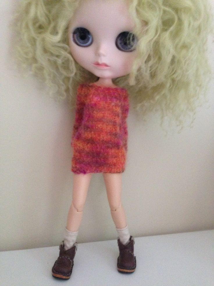 Jumper Dress for Blythe hand knitted in fine soft mohair by Belabowdoll on Etsy