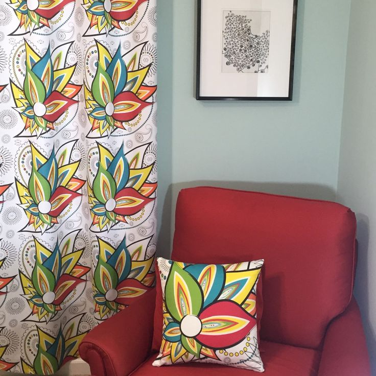 Fiesta Flat Curtain in Red, Blue, Green, Yellow & Orange Colors!   Custom Orders Welcomed.