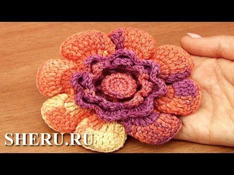 Крючком вязаный цветок Урок 95 Вязание - YouTube