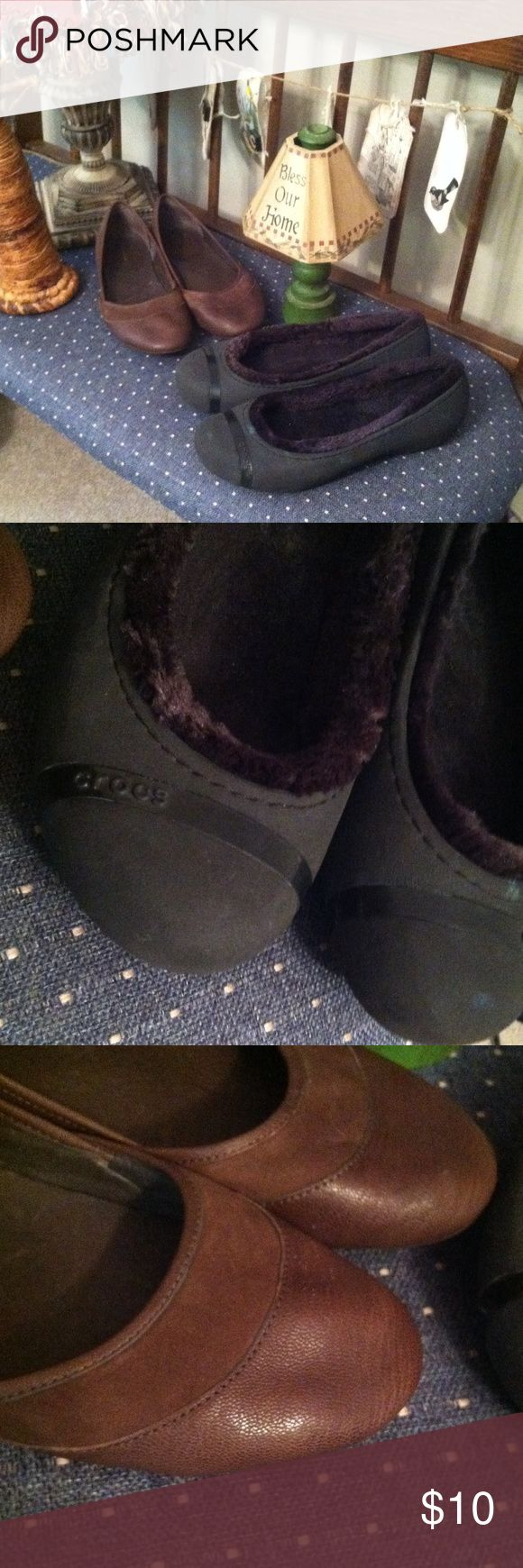Clearance!! Sz 10 crocs patagonia Going on a mission trip. Clearance sale!!  2 pair sz 10 winter crocs and patagonia brown leather flats Patagonia Shoes Flats & Loafers
