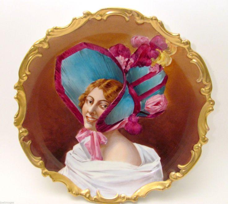 "13"" Antique Limoges Porcelain Victorian Lady Portrait Charger Plate LRL 1900 | eBay"