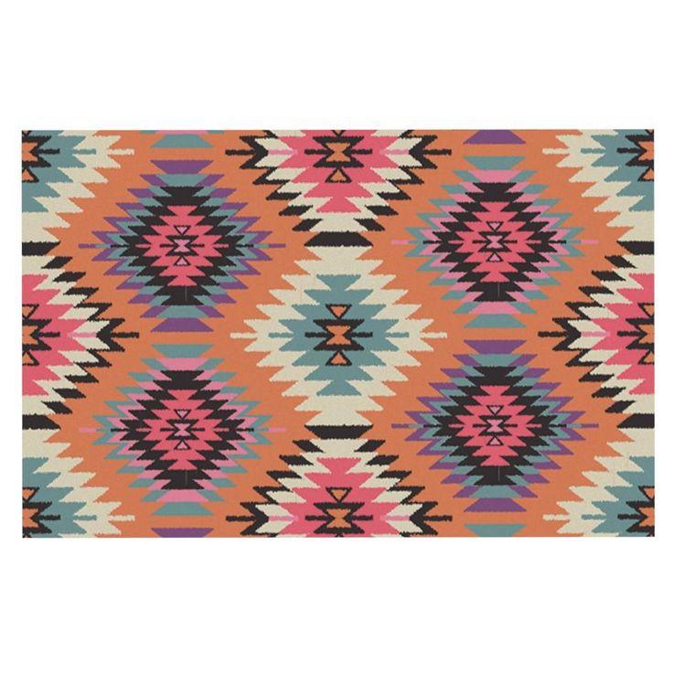 "Amanda Lane ""Southwestern Dreams"" Orange Pink Decorative Door Mat"