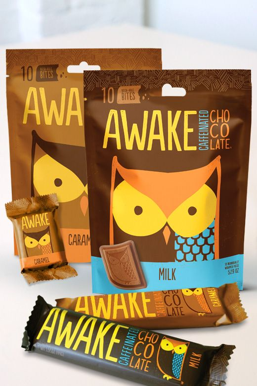 Rebranded packaging for Awake Chocolate | Tether. Having trouble staying awake and your desk? Eat some chocolate : ) PD