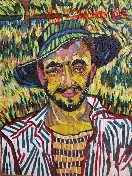 Adaptación al mosaico. Cuadro de un joven campesino Vincent van Gogh. 35 x 46 cm. Vidrios y venecitas.