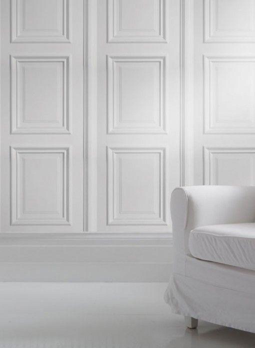 Papier peint trompe l'oeil boiseries blanches par Studio Mold