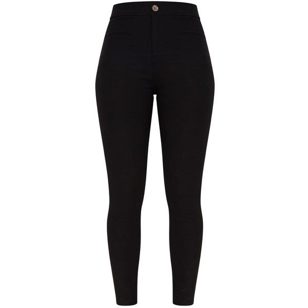 Black High Waisted Skinny Disco Jean (€24) ❤ liked on Polyvore featuring jeans, skinny fit jeans, high-waisted jeans, highwaist jeans, super skinny jeans and super high-waisted skinny jeans