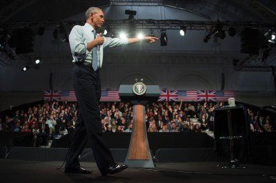 Before and after Brexit: Photo highlights of British politics in 2016:       Brexit:   US President Barack Obama answers questions from members of the audience at an event in London on 23 April 2016. Barack Obama warned Britain against leaving the European Union, undercutting a key argument of eurosceptics by saying London would be 'at the back of the queue' for a post-Brexit trade deal.   Jim Watson/AFP