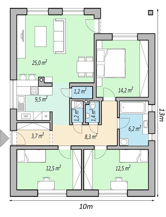 projekty domov - projekt domu bungalov FLIP