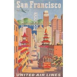 Vintage Travel SAN FRANCISCO, AMERICA Aviation Art
