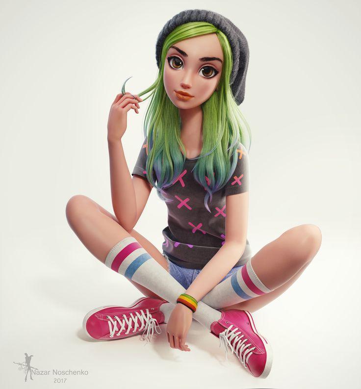 Green hair girl by Nazar Noschenko | Animation | 3D | CGSociety