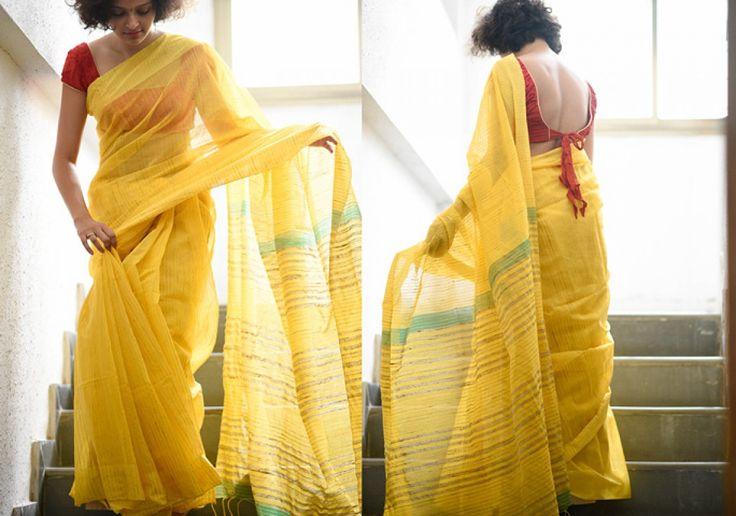 Cotton Sarees - Yellow vertical green stripe by Suta - PC12107 - 1