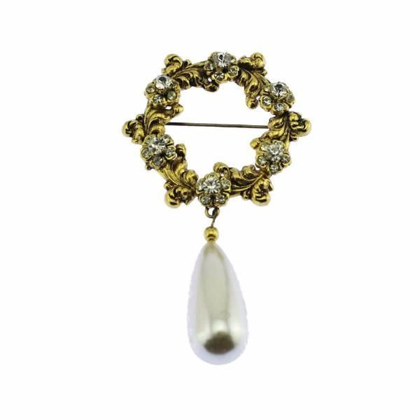 Large Gold and Rhinestone Brooch with Pearl Dangle