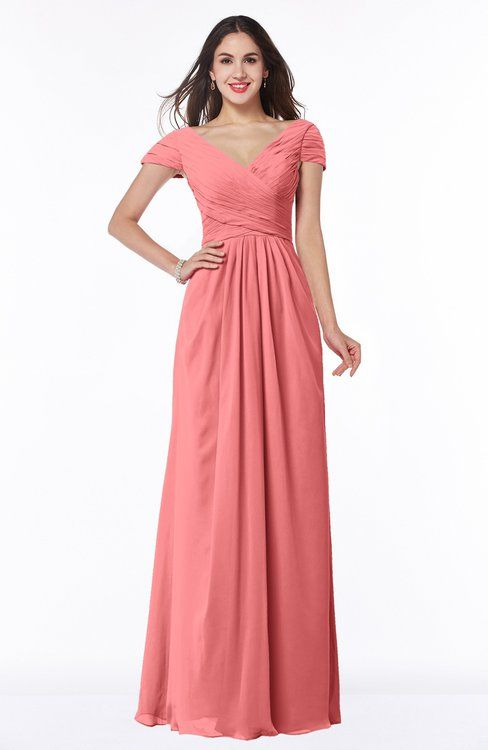 Coral Glamorous A-line Short Sleeve Floor Length Ruching Plus Size Bridesmaid Dresses