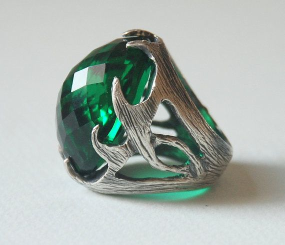 Large Men Ring Emerald Crystal Stone Sterling by SevimsDesign