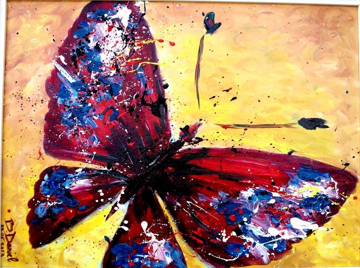 """''Butterfly'' Pictura in culori de ulei (Deco,Combinatul Fondului Plastic), Bloc desen Telia oil A3;Tablou: lăţime 30 cm, înălţime 40 cm;-Pictura proprie semnata: Boboc Daniel """"by b.daniel"""" De vanzare 200 ron + Rama Alba sau Neagra la alegere :)"""