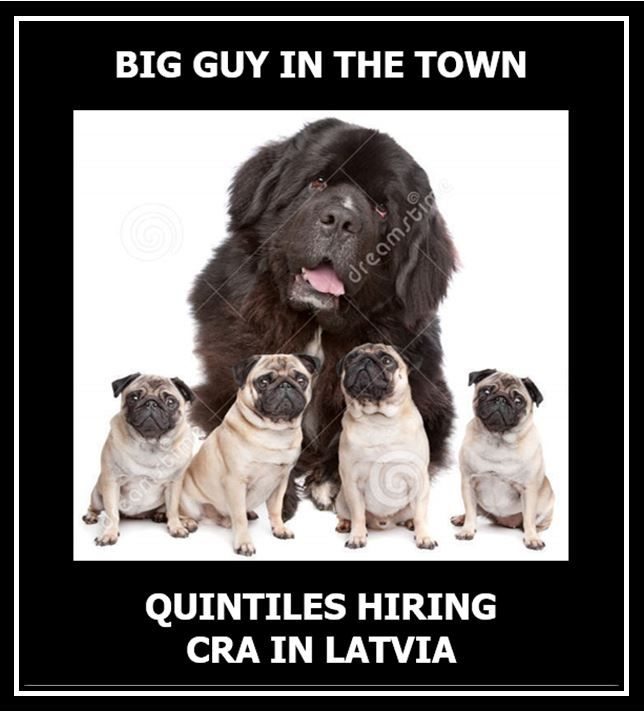 LATVIA: we are hiring for CRA in RIGA. Ideally we are looking for CRA with 1+ year of experience but ready to consider also highly motivated entry level candidates. Please, contact me via alexandra.sazonova@quintiles.com in case of any questions.