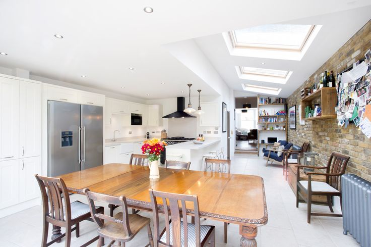 Side Return Extension, Peckham SE15, London, Kitchen Extension Ideas, Open Plan Living Design,  Large Roof Windows, Bi-Folding Doors, Pitched Roof, Antique Dinning Table, Exposed Brick Wall, Classic Kitchen Design