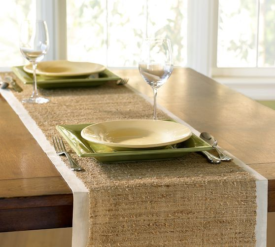 Nubby Table Runner - DIY with burlap and linen