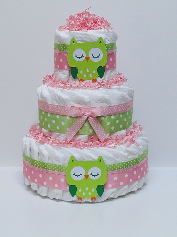 Pink and  Green Owl Diaper Cake Baby Shower Centerpiece on Etsy, $49.99