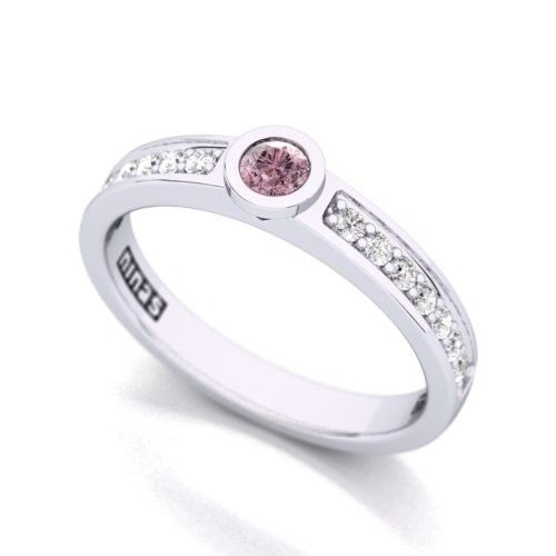 Romantic 18K Pink Diamond Engagement Ring - Having a .12ct pink diamond is no mean feat. These little ones are few and far between. Put a wedding ring next to this and then an eternity band or a modern ring called a 'push present'  and you have a truly special set and well earned.