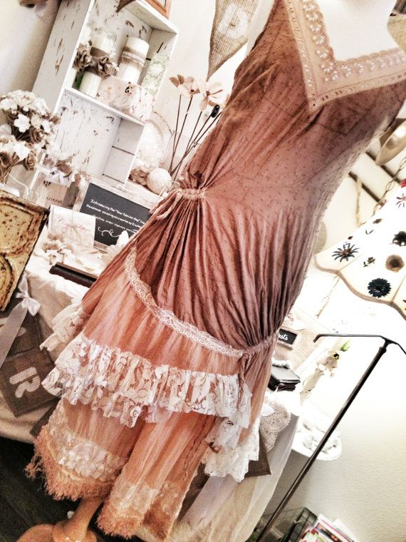 GYPSY PLANTATION: Women's lagenlook gypsy prairie country western cowgirl mori girl tunic dress size small medium 6,8,10 via Etsy