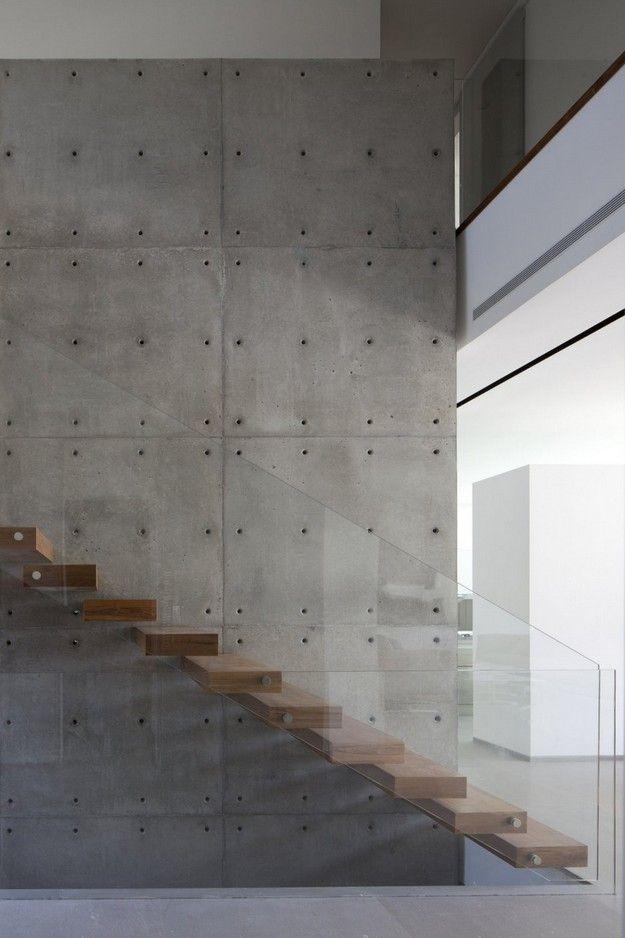 Concrete, glass, wood.