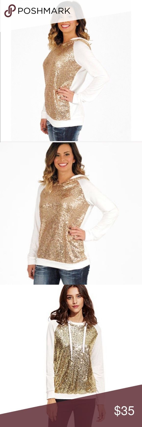 Gold Sequined Hoodie *** Denim, Boots, and Bling Tops Sweatshirts & Hoodies – #b…