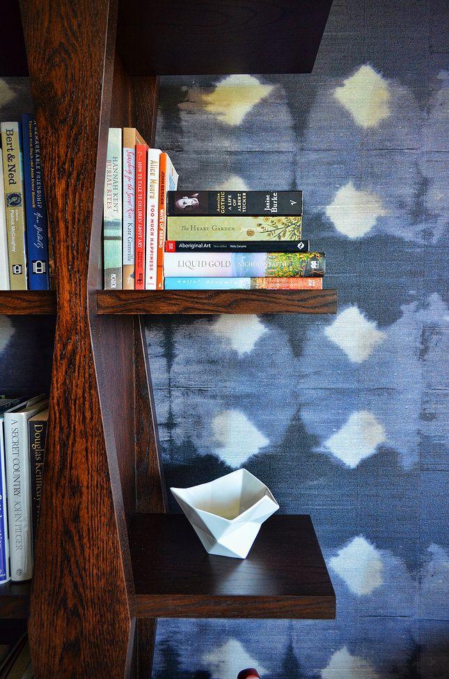 Circular Quay Harbour Apartment - Swan Studio Interior Design | purple wallpaper office bookshelf jardan