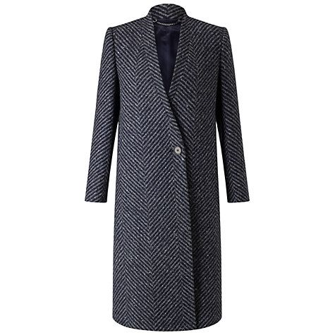Buy Jigsaw Herringbone Column Coat, Grey Online at johnlewis.com  As a smart coat this has a lot of great things going for it.  Narrow lapels, single breasted and the most appealing part is the asymmetric fastening - not often seen on classic styles of coat.  It is expensive but it's a good example of an investment piece.