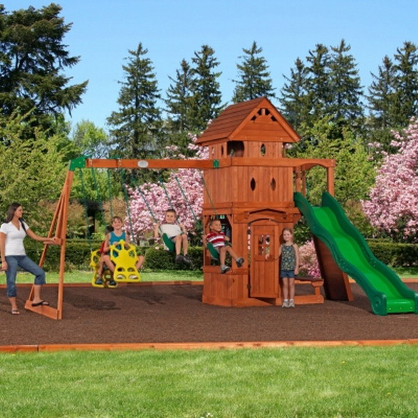 New outdoor playground wooden cedar swing set playhouse 10 for Childrens playhouse with slide and swing