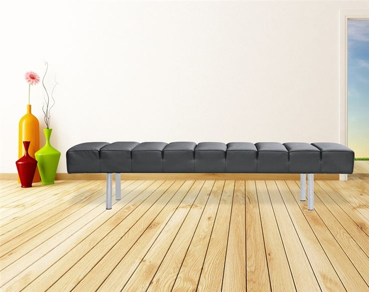 Classic Leather Bench 3 Seater In Black Leather