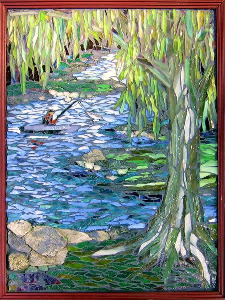 Serenity ~ by Laura Rendlen, stone and stained glass