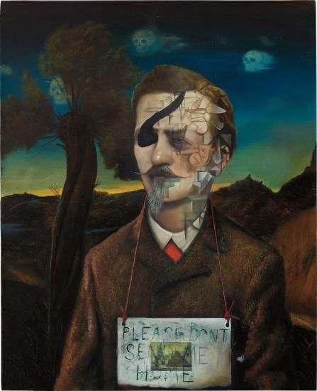 GED QUINN The Emigrant Moon signed and dated 'Ged Quinn 2010' on the overlap oil on canvas 60.1 x 49.3 cm (23 5/8 x 19 3/8 in.) Painted in 2010.