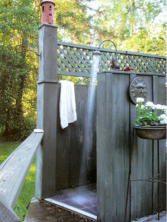 Outdoor shower for pool area tropical bathroom design for Outdoor pool bathroom ideas
