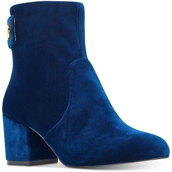 Nine West Quarryn Ankle Booties (155 AUD) ❤ liked on Polyvore featuring shoes, boots, ankle booties, navy velvet, navy blue boots, navy boots, velvet booties, nine west booties and nine west boots