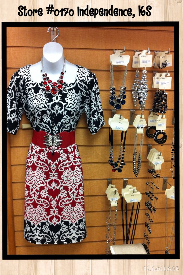 Black white and red dress red belt and red and black special