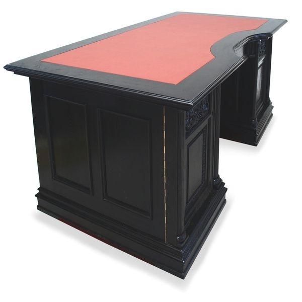 Antiker Schreibtisch neu restauriert, schwarz mit Schnitzelemente