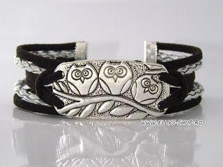 Ellys Shop: Bratara accesoriu argintiu bufnite
