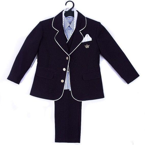 Dark Blue Formal Boy Suit 6 Pcs Baby Boy by AnnaSuitsAndDresses