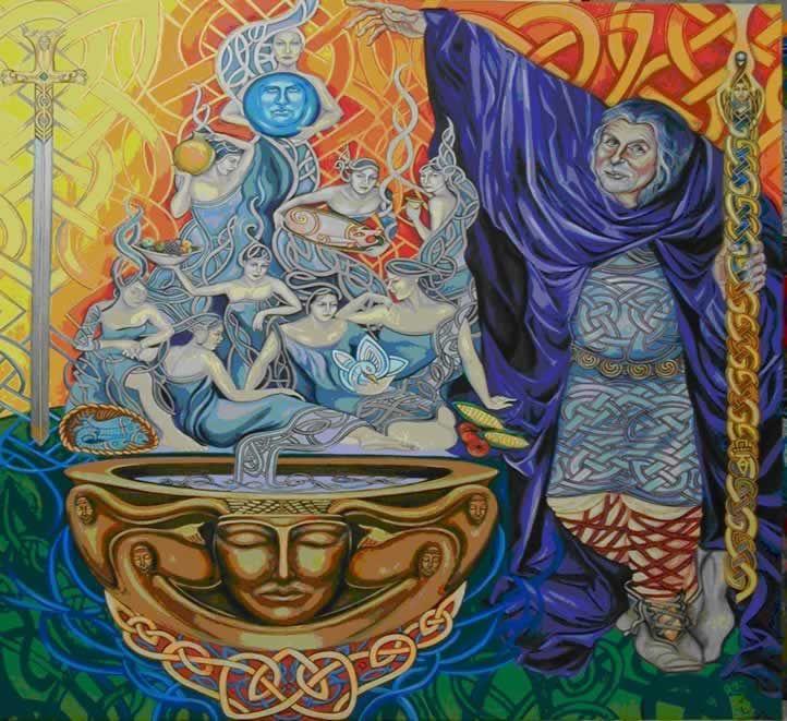 Dagda - No folclore irlandês, o Dagda era chamado de O Bom Deus, Grande Senhor, Pai dos deuses e dos homens, o Arquidruida, deus da magia, da terra. Rei supremo dos Tuatha de Dannan, mestre de todos os ofícios, senhor de todos os conhecimentos.Teve vários filhos, entre eles Brigit, Angus, Midir, Ogma e Bodb, o Vermelho.O Dagda tinha uma harpa de carvalho vivo que fazia com que as estações mudassem quando assim o ordenasse.Deus dos magos e sacerdotes,senhor dos artesãos, da música e das…