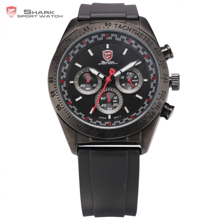 Swell Shark Sport Watch Tachymeter Bezel 24Hours Chronograph Black Red Dial Rubber Band Men Racer Car Military Wristwatch /SH271