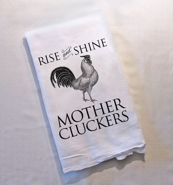 Farmhouse Decor Tea Towel Rooster Funny Dish Towels Kitchen Decor Gifts for Her Kitchen Towels Flour Sack Mother Cluckers Farm House Funny