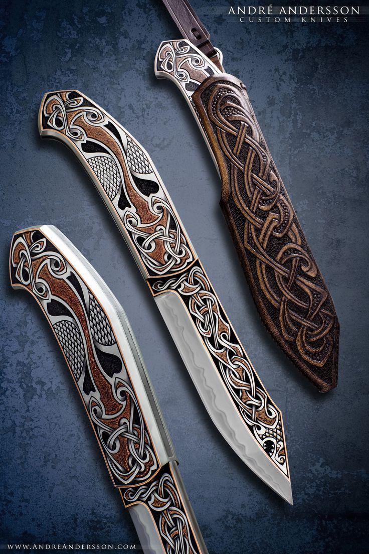 Broken back seax inspired fixed blade   André Andersson Custom Knives