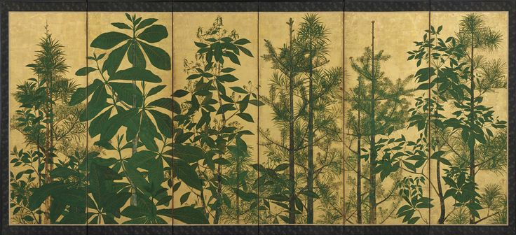 Trees, one of a pair with F1962.31 (雑木林図屏風) | Master of I-nen Seal 1600-1630) | Japan, Edo period, 17th century | Freer and Sackler Galleries of the Smithsonian Institution, Washington, DC. | F1962.30