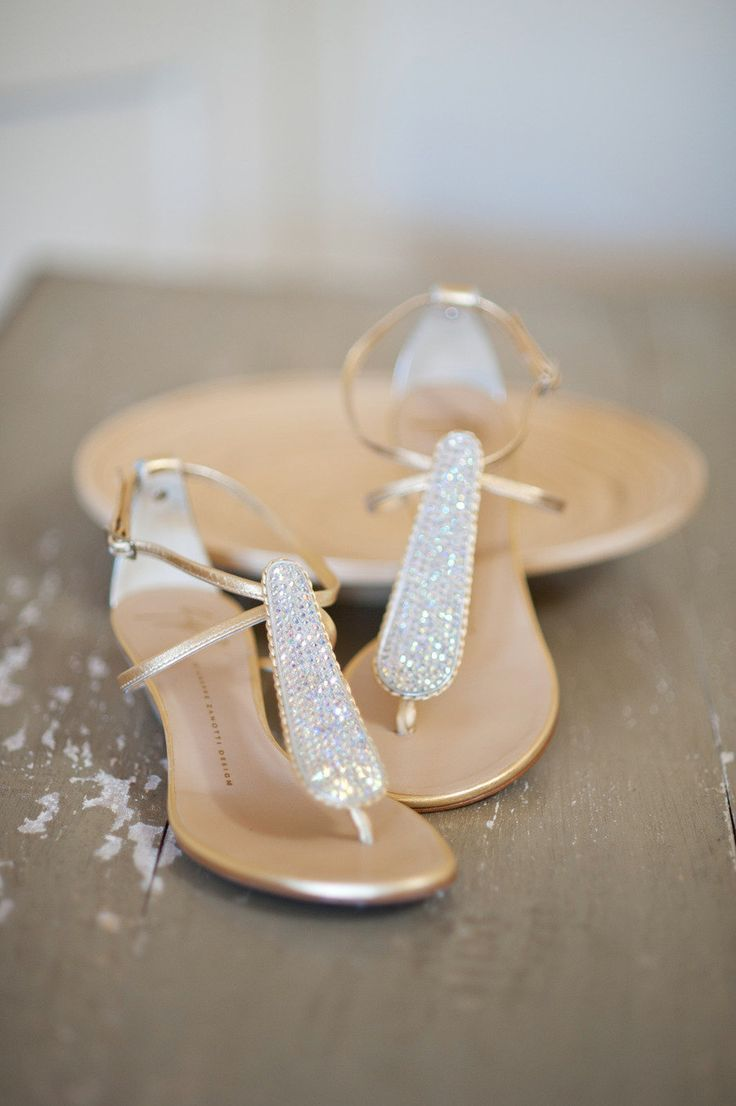Stunning and simple gold flats with crystal accents are sophisticated and elegant.  | Invitaitons by Ajalon | invitationsbyajalon.com