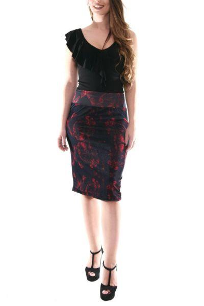 conDiva Gray- Red Pencil Skirt   Elegant Tango Skirts  #tangoclothes #milongaoutfit #tangoskirt #condiva