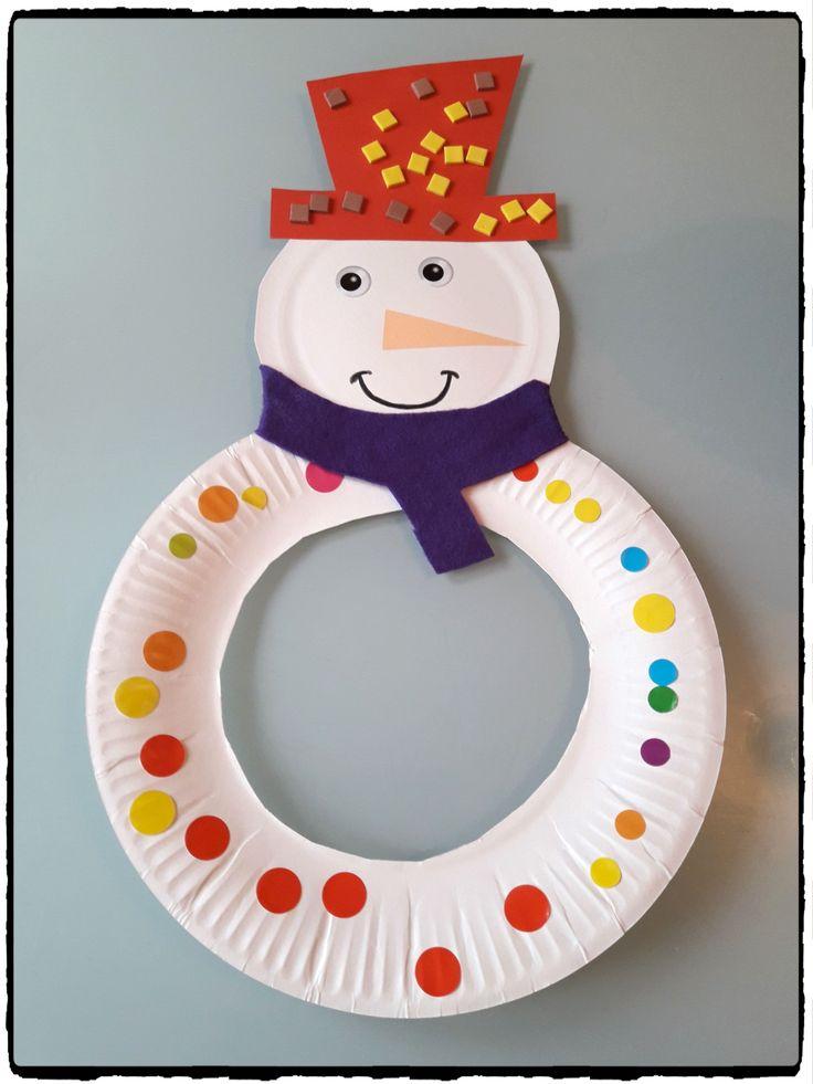 bricolage bonhomme de neige, bricolage hiver, enfants, bonhomme de neige en assiette en carton